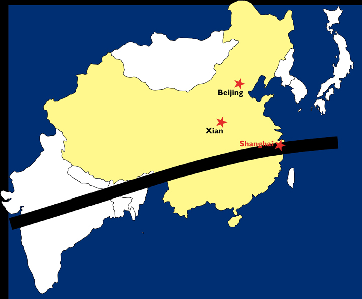 solar eclipse path across China