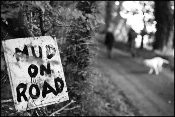 """Mud on Road"" sign"