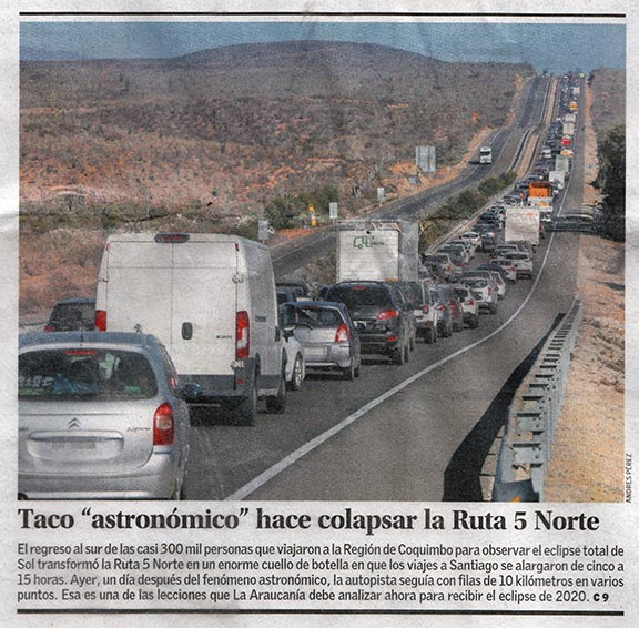article on post-eclipse traffic jam on route 5